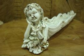 *[ N-0535 ] Wierook Houder Cupido 26 cm. Wit