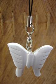 [ N-0351 ] Vlinder  3 cm.  wit Hout aan zwart koordje