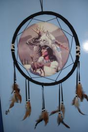 *[ N-0556 ] Sier Dromenvanger 37 cm. Indiaan, Wolf en Herten.