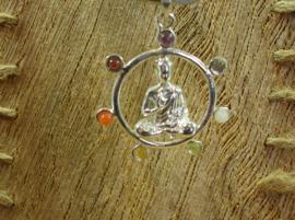 +[ N-348 ] Hanger Echt Zilver; Boeddha in Chakra cirkel  3½ cm.