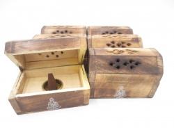 [N-0226 ] Wierookhouder Kegel kistje hout Boeddha