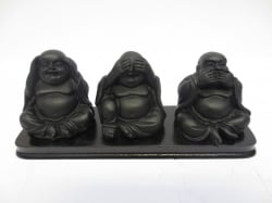 [N- 0234]  Boeddha: Horen Zien en Zwijgen, klein zwart op plank