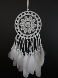 [ N-0211 ] gehaakte Dromenvanger wit met Ganzenveren 15 cm