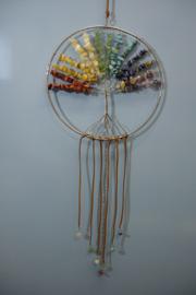 [ N-0002 ] Levensboom hanger 20 cm. Natuursteen Chakra kleuren.