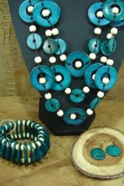 +[ N-0547 ] Sieraden set, Fair Trade Cocos noot, turkoois Blauw, per set