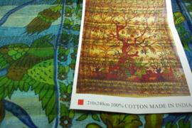*[ N-0402 ] Kleed;  Boom Groen/Blauw, 210 x 240 cm.