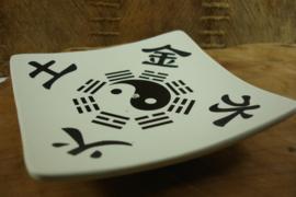 [ N-0276 ] Wierook stokje houder 12 cm. Yin Yang, Off White