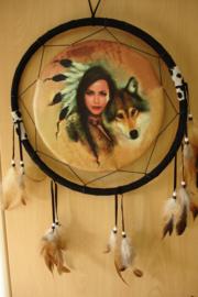 *[ N-0393 ] Sier Dromenvanger 30 cm. Squaw met Wolf