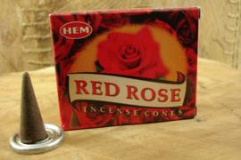 [ N-0296 ] Wierook Kegeltjes; Red Rose, per doosje á 10 stuks