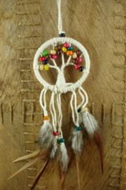 [ N-0407 ] Dromenvanger 6.5 cm. Levensboom met ass. kleur kraaltjes