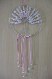 [ N-0261 ] Levensboom hanger 20 cm. van Natuursteen: Rozenkwartz