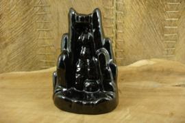 *[ N-0381 ] Backflow Houder 10 cm. Zwart Keramiek
