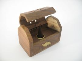 [ N-0228 ] Wierookhouder Kegel kistje hout  OLIFANT goud kleur