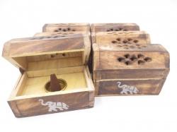 [N-0222] Kegelkistje hout, afbeelding Olifant