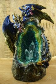 *[ N-0398 ] Backflow; 2 Koppige draak op Kristallen grot, 19 cm. met verlichting
