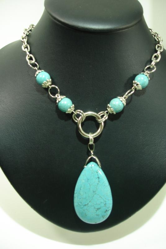 +[ 7124 ] Hals ketting 42 cm. met Turquoise steen