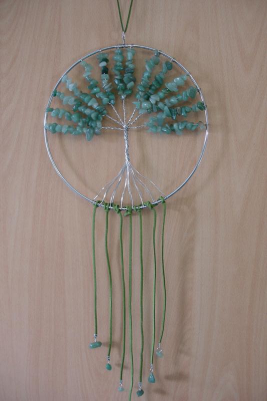 [ N-0262 ] Levensboom hanger 20 cm. Natuursteen Groene Jade