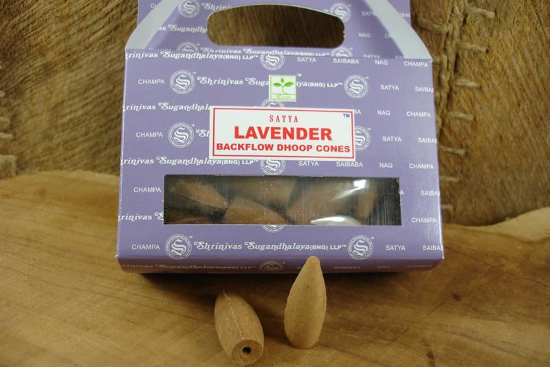 *[ N-0374 A ] Backflow kegeltjes; Lavendel, per doosje á 24 stuks