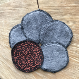 #1 Zwart met roest rode stippen met Bamboe fleece | 5 stuks