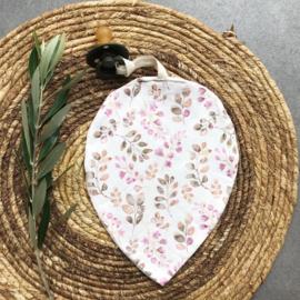 Speendoekje | Leaf  roze blaadjes