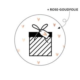 Sticker | Cadeautje + rose gouden hartjes