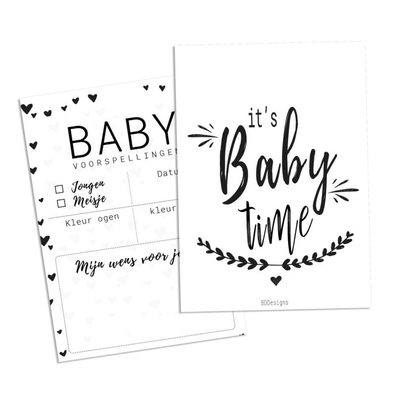 Babyshower | Invulkaarten zwart wit