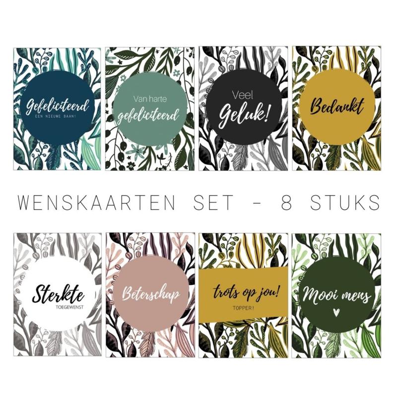 Wenskaarten set   8 stuks