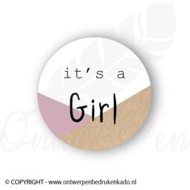 Sluitsticker, its a girl roze, craft