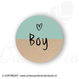 Sluitsticker, craft, blauw boy