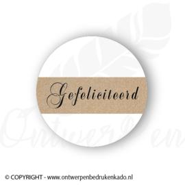 Sluitsticker, wit, craft, gefeliciteerd