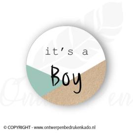 Sluitsticker, its a boy groen, craft