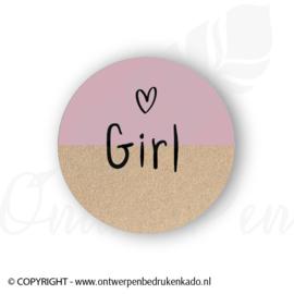 Sluitsticker, craft, roze girl