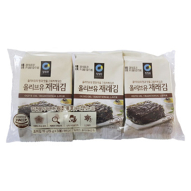 SEASONED LAVER (JAERAE 5g X 3 )-CUT 청정원 올리브유 재래김 3봉/1팩