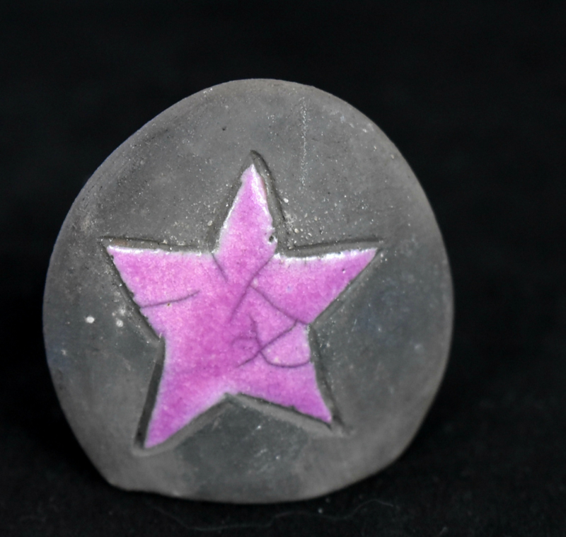Memory steentje met lila sterretje (5-10ml)