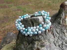 Blauwe glasparel armband