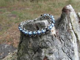 Blauwe jasseron armband