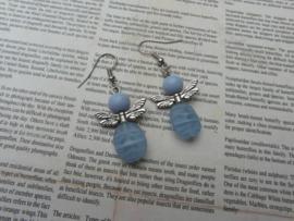 Oorbellen blauw engeltje