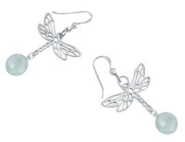 Libelle - Dragonfly - zeegroene chalcedoon 4cm Zilver 925