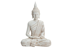 Boeddha in wit van Poly, B27 x T16 x H40 cm