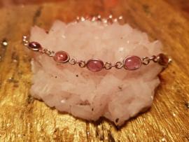 Roze Toermalijn Zilveren armband