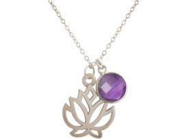 YOGA ketting lotusbloem met paarse amethist edelsteen in zilver