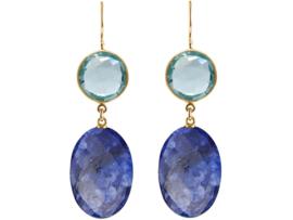 Edelstenen oorbellen met nachtblauwe saffier ovalen en blauwe topaas kwarts edelstenen in 925 zilver
