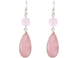 roze agaat druze druppels en rozenkwarts edelstenen 925 zilver