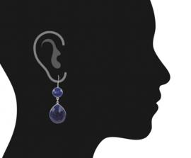 Nachtblauwe Saffier oorbellen - druppels - 6 cm - Zilver 925
