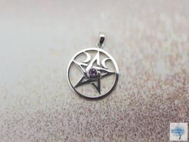 Pentagram met Amethist - Sterling Zilveren Hanger