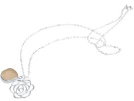 ART DECO bloem met Druzy Rozenkwarts  925 zilver - 45 cm