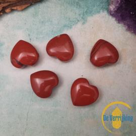Rode Jaspis - Hart 2cm - Doorboord