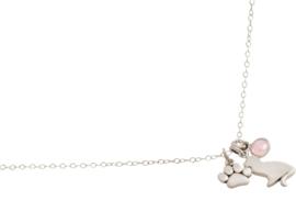 Rozenkwarts hanger met Kat en Kattenpootje - 925 Zilver
