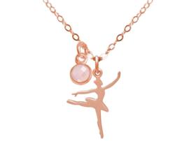 Ballerina Danseres Zilverenketting met Rozenkwarts 925