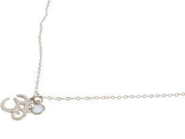 YOGA meditatie ohm ketting gemaakt van 925 zilver met  2 cm met zeegroene chalcedoon